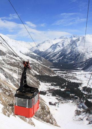 russian federation: Gondola at Elbrus mountain. Caucasus. Russian Federation Stock Photo
