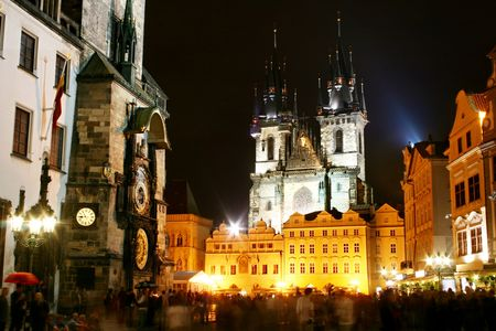 The old town square in Prague at night photo