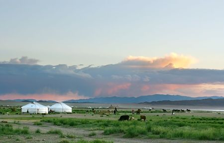 Mongolian landscape in the sunset photo