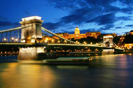 Budapest Chain Bridge and Royal palace at night photo