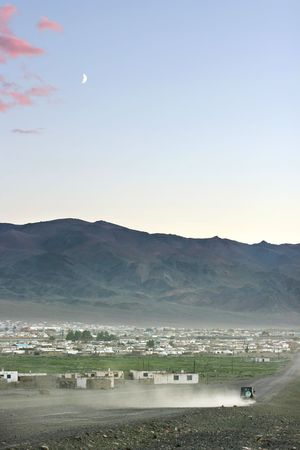 nomadism: Traditional mongolian village in the dusk