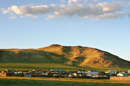 nomadism: Traditional mongolian village in the sunet