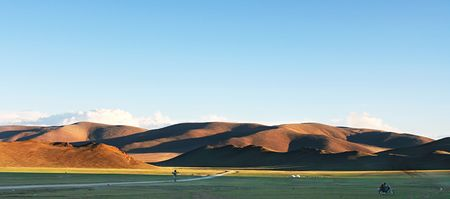 nomadism: Traditional Mongolian landscape in the sunset Stock Photo