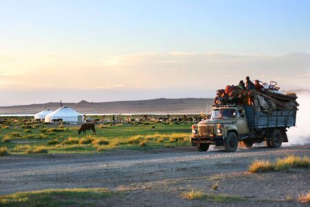 a place of life: Mongolian people  move to new place of life Stock Photo