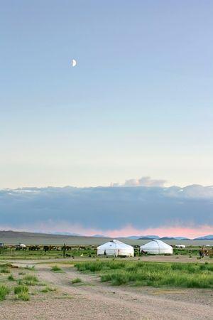 nomadism: Mongolian landscape in the sunset