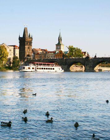 citytrip: Prague - Boats near the Charles bridge. Czech Republic