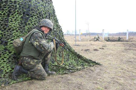 batallon: Polaco-ucraniana de UkrPolBat batall�n pacificador durante los ejercicios militares en Velykopolovetsk combinado armas formaci�n �rea en Kiev el 13 de marzo de 2008. Ucrania