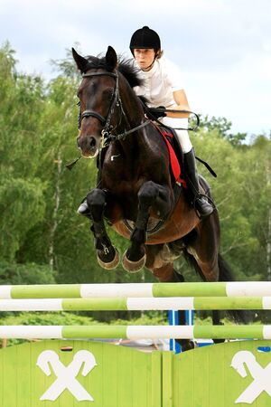 Ukrainian equestrian sportsman shows his skills during the Open Equestrian Cup of Kyiv July 18, 2008.