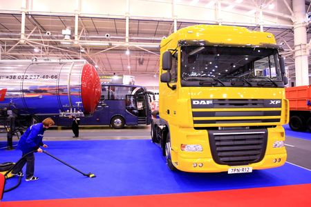 KYIV, UKRAINE - SEPTEMBER 16, 2008: World truck brands present their production at the 4th TIR-2008 show of freight and business-class vehicles on September 16, 2008 in Kyiv, Ukraine
