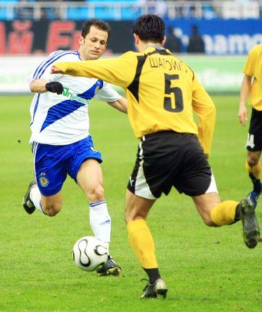 KYIV, UKTRAINE - MACH 23: FC Dynamo Kyiv strikes against FC Kryvbas during their 22 round Ukrainian League match on March 23, 2008 in Kyiv, Ukraine