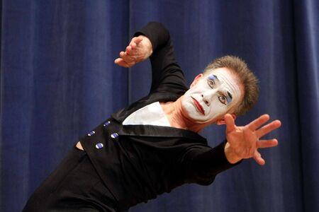 KIEV, UKRAINE - MARCH 11: Ukrainian mime Oleh Yemtsev performs his classical pantomime show called