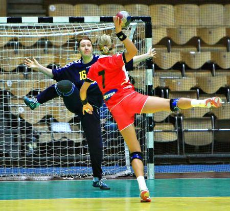 Kiew, UKRAINE - NOV 23: Handball Match zwischen ukrainisch und österreichischen Handballnationalmannschaft im November 2008 in Kiew, Ukraine Editorial