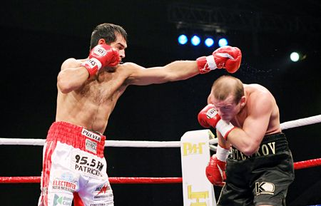 wba:  KYIV, UKRAINE - FEBRUARY 21: Julio Cesar Dominguez fight against Vyacheslav Uzelkov during a bout for the WBA light heavyweight Intercontinental Champion title on Feb 21, 2008 in Kyiv, Ukraine Editorial