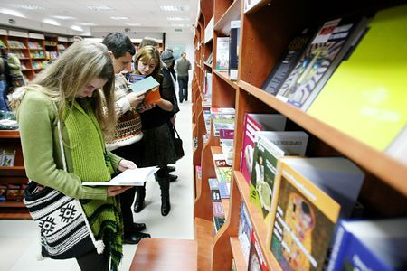 kyiv: KYIV, UKRAINE - DECEMBER 21:  People with books  in a bookshop during a Bookcrossing event on December 21, 2007 in Kyiv, Ukraine