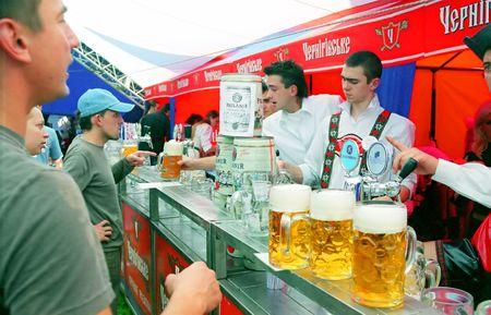 KYIV, UKRAINE - SEP 25: The metropolitan Spartak Stadium hosted the traditional, popular among Kyivans, festival of beer Oktoberfest on September 25, 2006 in Kyiv, Ukraine