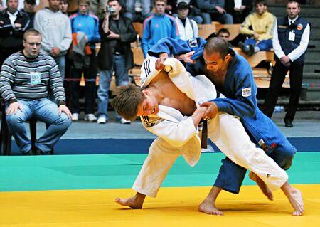 dojo: KYIV, UKRAINE - MAY 13: International tournament category A of the European Judo Union among juniors  Typhoon on tatami on May 13, 2007 in Kyiv, Ukraine