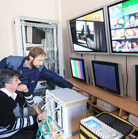 control center: KYIV, UKRAINE - NOV 16: Worker at  Control Center of Volia company during open doors day on November 16, 2007 in Kyiv, Ukraine