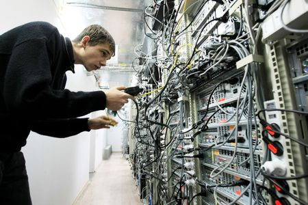 administrators:  KYIV, UKRAINE - NOV 16: Worker at  Data Center of Volia company during open doors day on November 16, 2007 in Kyiv, Ukraine