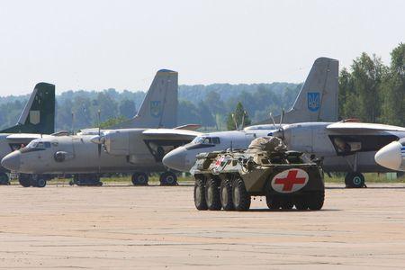 VINNYTSYA, UKRAINE - JUNE 10, 2008: Military mobile hospital during a medical military trainings on June 10, 2008 in Vinnytsya, Ukraine