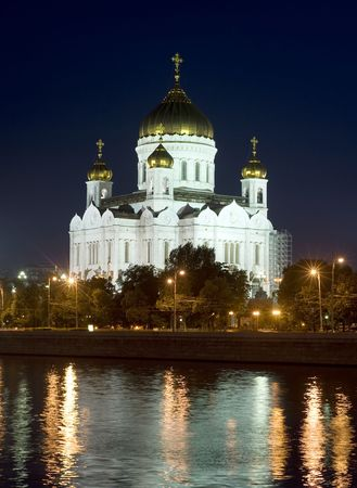 The restored Cathedral of Christ the Savior in Moscow at night Stock Photo - 7308397