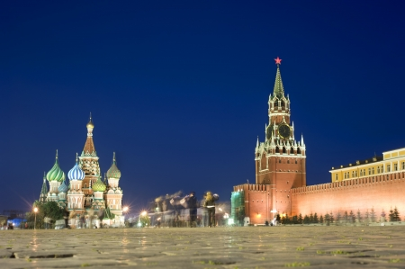 red square: Red square at night, Moscow. Russia