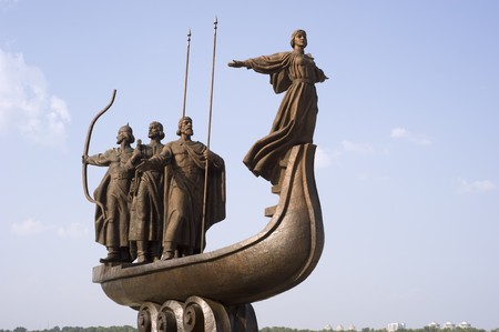 founders: A famous monument of the mythical founders of Kiev on the Dnpro river