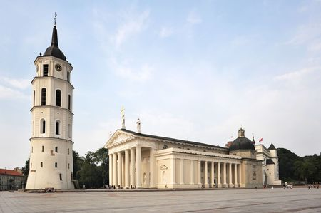 sainthood: Cathedral Square in Vilnius. Lithuania Stock Photo
