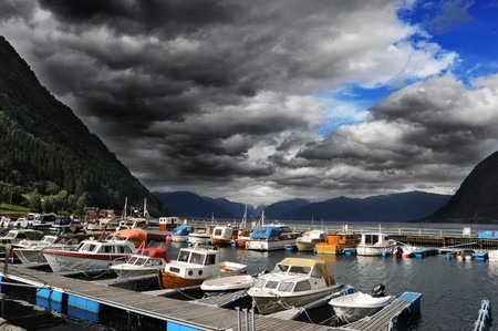Yachts standing in marina in  Norwegian fjord Stock Photo - 7727248