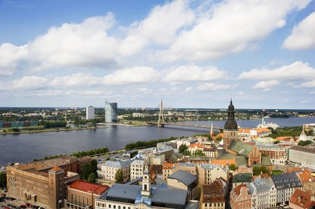 birds-eye view from Riga cathedral on old town of Riga, Latvia photo
