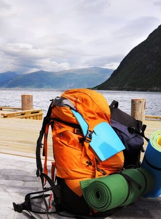 fjords: Tourists backpack on a pier in Norwagian fjords