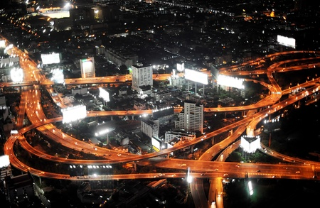 Bangkok Expressway and Highway, aerial view at night, Thailand Stock Photo - 9538342