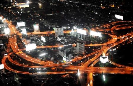 bangkok night: Bangkok Expressway and Highway, aerial view at night, Thailand