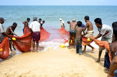 fishermans net: Hikkaduwa, Sri Lanka - Feb 19, 2011: Lokal fishermans pulling net from the ocean. Fishing in Sri Lanka is a tough job but this is the way they earn their living Editorial
