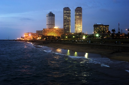 Colombo, Sri Lanka - Feb 22, 2011: Panorama of Colombo in the night. Colombo is the largest city and former capital of Sri Lanka.Colombo is the largest city and former capital of Sri Lanka. Stock Photo - 9656855