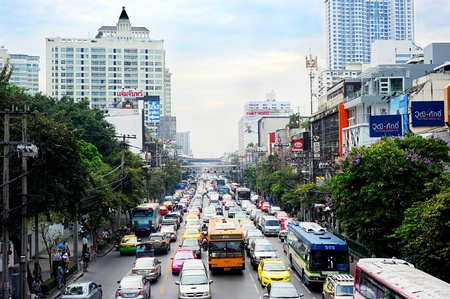 worst: Bangkok, Thailand - March 03, 2011: Traffic jam in Bangkok. Bangkok had one of the worst traffic problems in the world with unbelievable traffic jams.