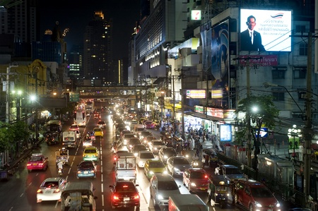 Bangkok, Thailand - March 03, 2011: Bangkok highway and streets in the evening.