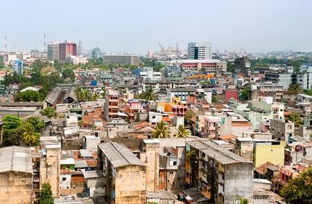 krottenwijk: panorama van Colombo, de hoofdstad van Sri Lanka Stockfoto