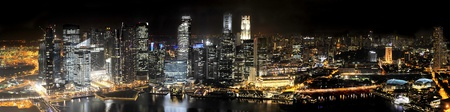 Singapore Skyline at Night from Marina Bay Sands resort photo