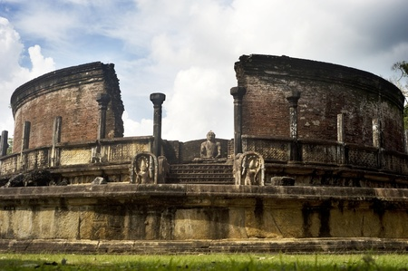 the stupa: Ancient Vatadage (Buddhist stupa) in Polonnaruwa, Sri Lanka Stock Photo