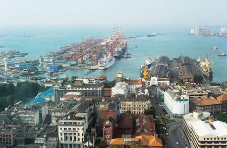View on Colombo harbor from WTC Colombo. Sri Lanka