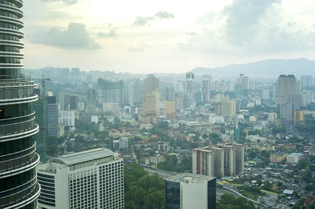 Aeial view of Kuala Lumpur at sunset photo