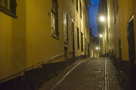 Small street in Stockholm in an old city( gamla stan). Sweden photo