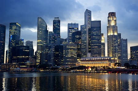 marina life: cityscape of Singapore at night