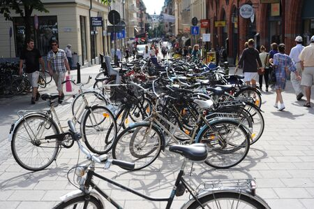 Stockholm, Sweden - August 11, 2010: A lot of bicycles on Stockholm street