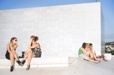 Oslo, Norway - August 15, 2010: People have a rest  at Oslo Opera House.The Oslo Opera House (Norwegian: Operahuset) is the home of The Norwegian National Opera and Ballet, and the national opera theatre in Norway.