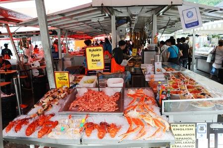 fish selling: Bergen, Norway - August 17, 2010:   Famous fish market in Bergen. Norway