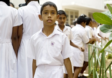 Galle, Sri Lanka - January 26, 2011: Portrair of a Sri Lankan pupil  during 5 Annual School Festival on January 26, 2011 in Galle, Sri Lanka Stock Photo - 9768080