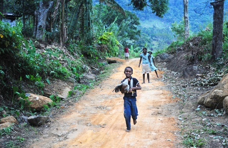 Neluwa, Sri Lanka - January 27, 2011: Sri Lankan boy from small sri lankan village carrying a chicken in his hands and running by the road