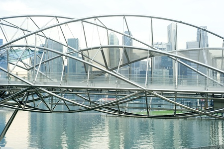 previously: The Helix Bridge , previously known as the Double Helix Bridge , is a pedestrian bridge linking Marina Centre with Marina South in the Marina Bay area in Singapore