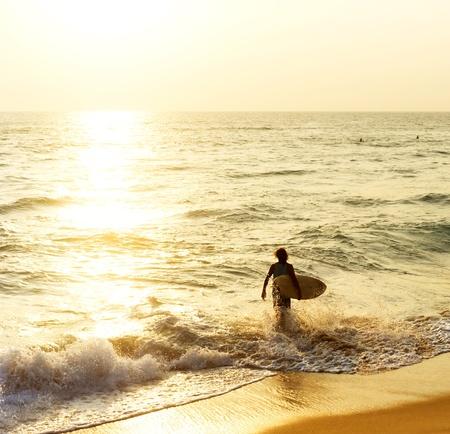 surfing waves: Surfer on the ocean beach at sunset in Hikkaduwa, Sri Lanka